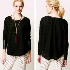 Dolan Derry Faux Leather Trim Swing Sweater Top